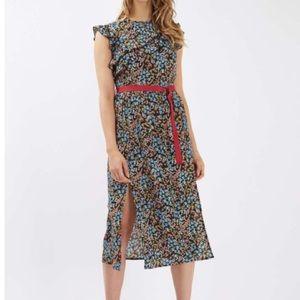 NWT • TopShop • Floral Strap Ruffle Midi Dress 4